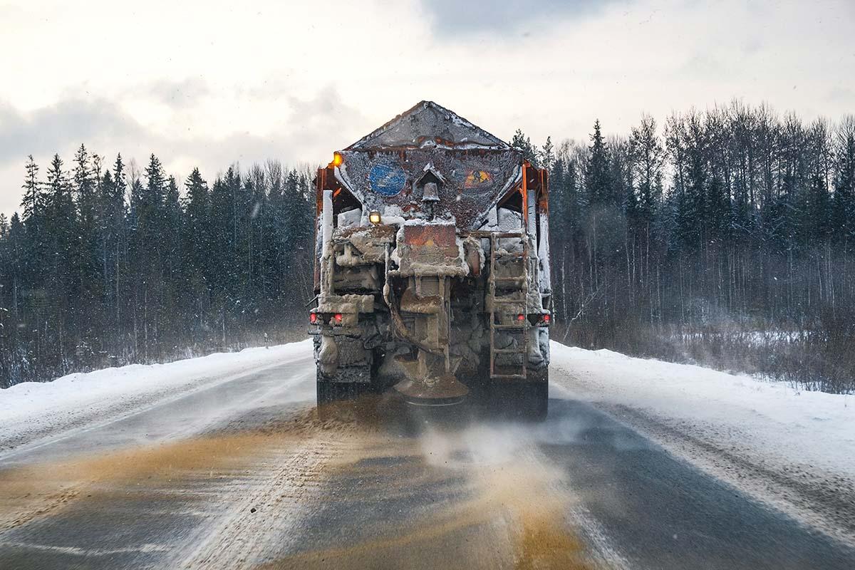Snowplow Truck Carrying Snow